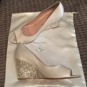 Kate Spade Radiant Wedges ivory and silver glitter